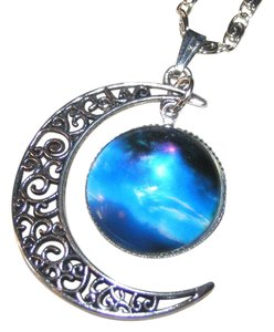 Crescent Moon North Star Glass Cabochon Necklace Free Shipping