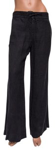 Magaschoni Linen Comfortable Relaxed Relaxed Pants Black