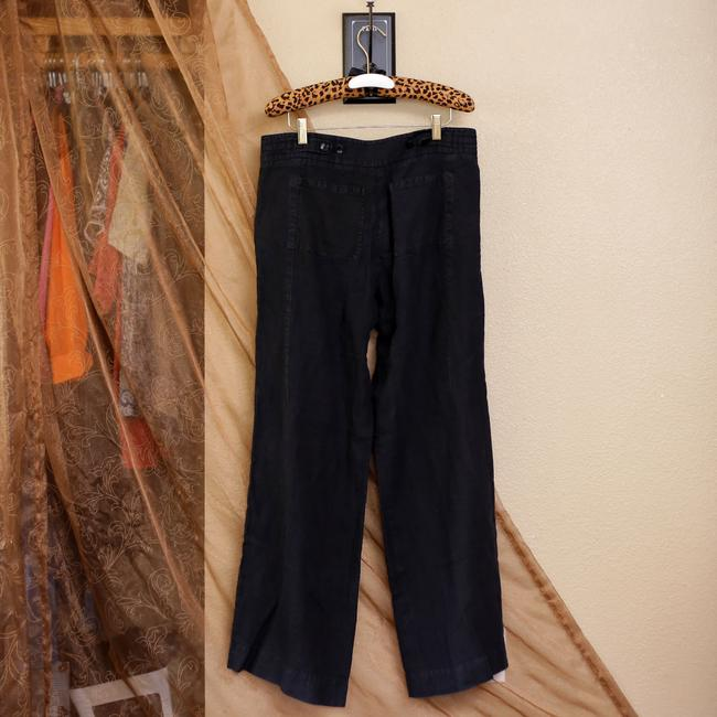 Magaschoni Linen Comfortable Draw-string Relaxed Pants Black