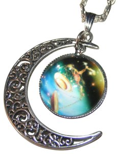 Universe Glass Cabochon Pendant Silver Necklace Free Shipping