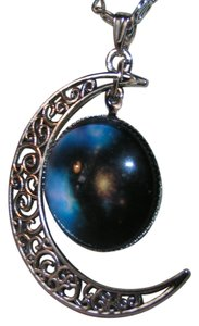 Glass Cabochon Crescent Moon World Pendant W/Necklace Free Shipping