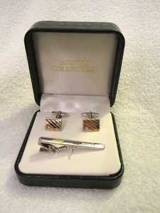 Boston Collection Gold & Silver W/ Crystal Geometric Cuff Links & Tie Bar In Box
