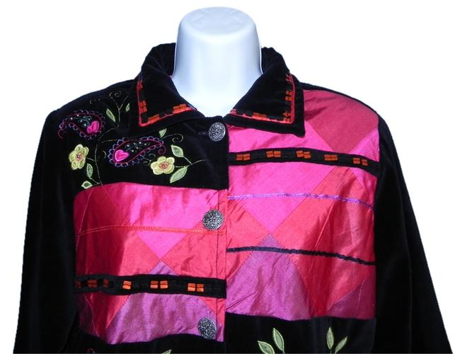 Coldwater Creek Velvet Silk Lined Applique Embroidered Black Pink Jacket