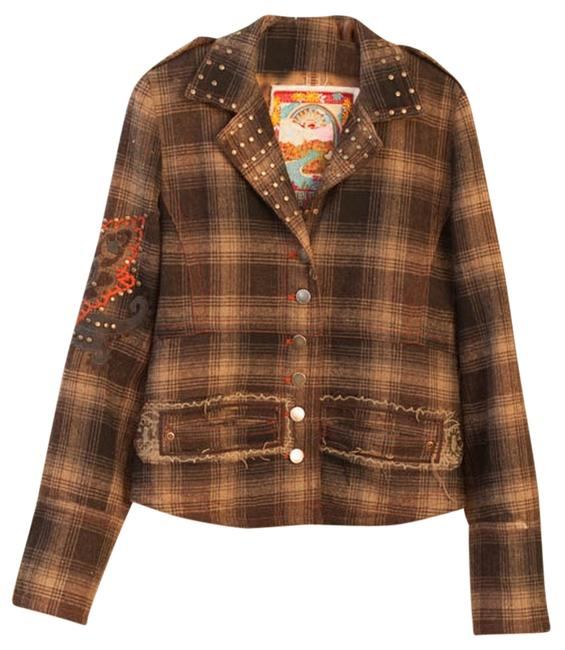 Two Ten Ten Five Plaid Embellished Embroidered Studded Brown Multi-colored brown multiThis Jacket