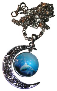 Blue Moon World Glass Cabochon Pendant Necklace Free Shipping