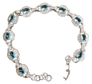 Other Elegant London Blue Topaz, White Zircon Silver Tennis Bracelet 8.5inch