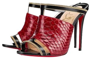 Christian Louboutin Red Black Gold Mules