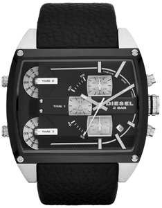 Diesel Diesel Mothership DZ7326 Black Leather Stainless Time Zone Mens Watch