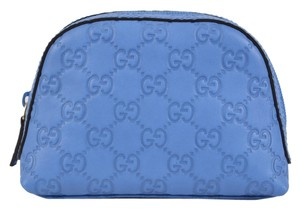 Gucci New Gucci 272366 Cornflower Blue Leather GG Dome Cosmetic Makeup Bag