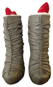 Jean-Michel Cazabat Leather Ruching Stiletto Classic Fashion Fall Winter Jean Michel Cazabat Seasonal New Grey Boots