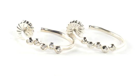 "Ippolita Ippolita Silver Diamond Hoop Earrings .925 Sterling Rain 1"" Post #2 New! $995"