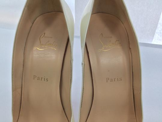 Christian Louboutin 130mm Very Prive Patent Leather Ivory Pumps