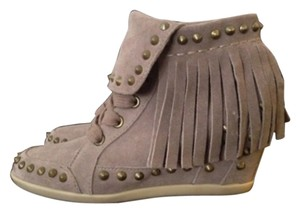 Ash Vintage Trendy Suede Studded Stone/Grey Wedges