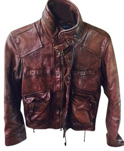 Ralph Lauren Black Label Leather Bomber brown/luggage Leather Jacket