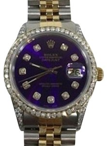 Rolex Rolex Stainless Steel And Gold 36mm Datejust Watch Purple Diamond Dial