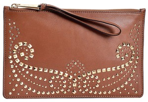 Michael Kors 32f4graw3l Lambskin Stud Tan Wristlet in Luggage