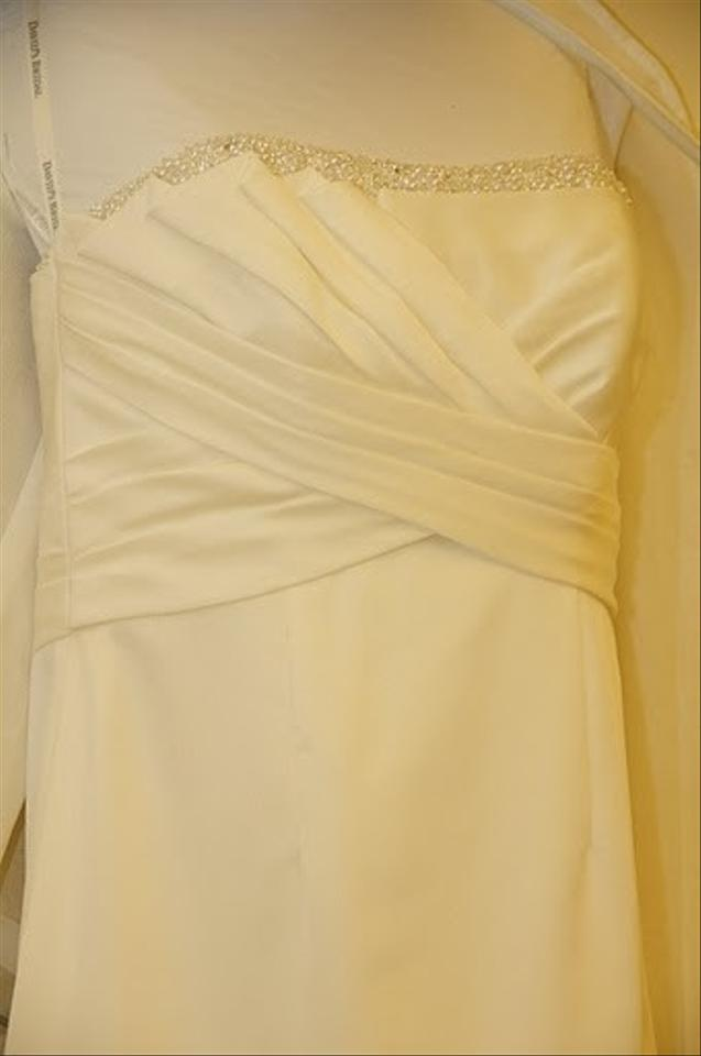 David 39 s bridal t9938 mikado gown with ruffle back wedding for T back wedding dress