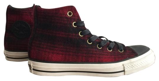 Converse Woolrich Plaid Wool Unisex Laces High Tops Hi Tops Black and Red Athletic