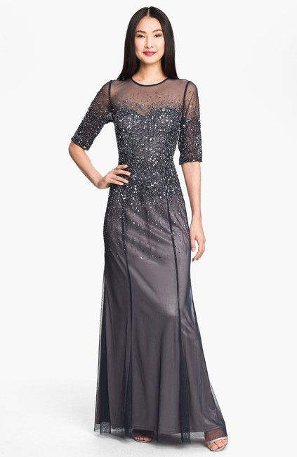 Item - Navy Illusion Mesh with Sequins and Chiffon Beaded Bodice Formal Bridesmaid/Mob Dress Size Petite 8 (M)