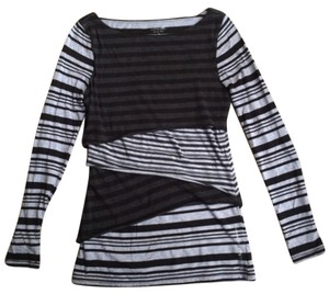 Calvin Klein Performance Asymmetric Tiered Long Sleeve Striped Top
