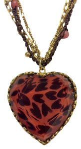 Betsey Johnson Betsey Johnson Leopard Heart Statement Necklace