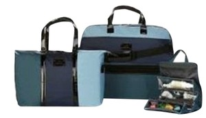 Joy Mangano Luxury Travelease Set Blue and Black Travel Bag