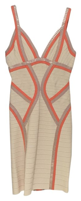Item - Tri Color - Beige Coral & Gold Niyaz Mid-length Night Out Dress Size 8 (M)