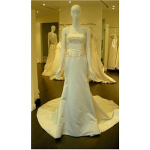 Reem Acra Cream Satin Japanese Formal Wedding Dress Size 4 (S)