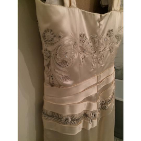Reem Acra Cream Satin Japanese Formal Dress Size 4 (S)
