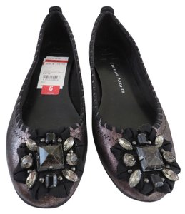 Etienne Aigner Pewter, Gray, Metallic, Black Flats