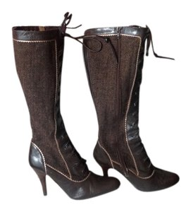 Charles by Charles David Brown Leather and Tweed Boots
