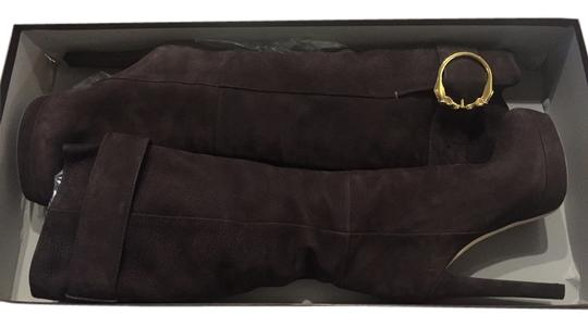 Gucci Knee High Fall Leather Suede Stiletto Dark Brown Boots