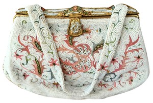 Josef Seibel Made In France Seed Crewel Work Vtg. Detailed Foliate Off white with multi-colored beads Clutch