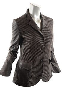 Agnona Leather Blazer Dark Taupe Leather Jacket