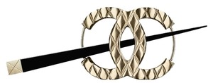 Chanel Chanel Large Gold CC Logo Metal Black Resin Hair Pin