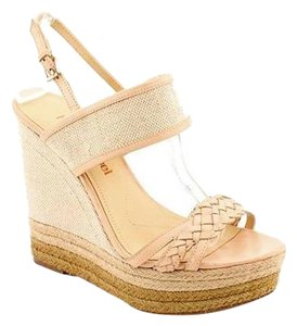 Luxury Rebel Open Toe Wedge Beige Sandals