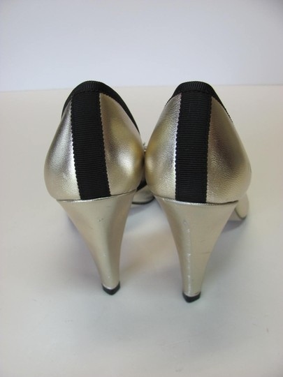 Anne Klein New Leather Size 7.50 M Condition Gold, Black Pumps