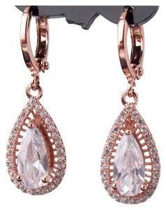 Other Brand New White Topaz & Rose Gold Filled Earrings