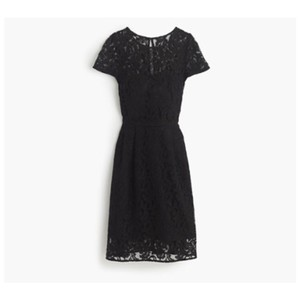 J.Crew Black Lace Alisa In Leavers Traditional Bridesmaid/Mob Dress Size 0 (XS)