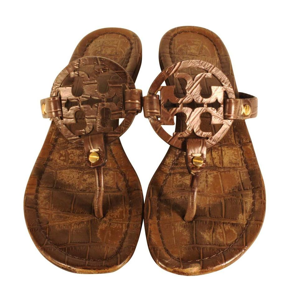 78ebb4b14202 Tory Burch Brown T Miller Crocodile Style Detail Strap Sandals Size ...