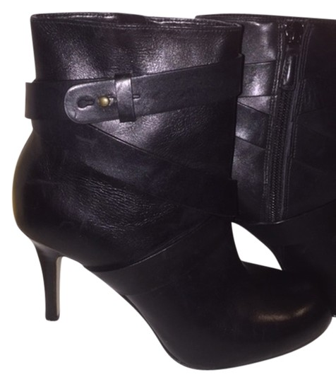 Cole Haan Leather Crisscross Strap Black Boots