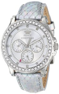 Juicy Couture Juicy Couture Women's Pedigree Iridescent Silver Tone Leather Stainless Steel Glitz Multi Function Watch 1901063