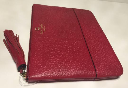 Kate Spade Pouch Makeup Red Leather Dynasty Red Clutch