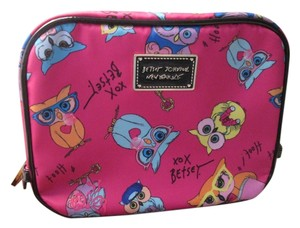 Betsey Johnson Brand new Betsy Johnson cosmetic bag, Pink color, cute owls and little black, yellow, blue, color.