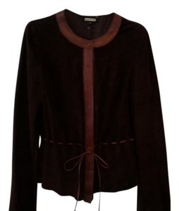 Rozae Nichols Leather Suede Notches Dark Brown Leather Jacket