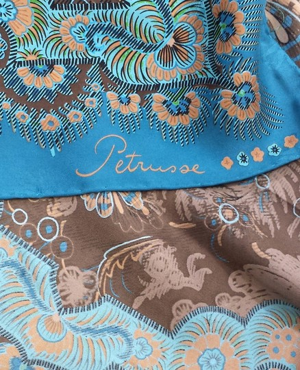 Petrusse Teal & Brown Floral Print Silk Square Scarf