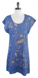 Chelsea Flower short dress Blue Tan Floral Eyelet Cotton on Tradesy