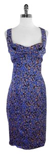 Zac Posen short dress Blue Mauve Print Silk on Tradesy