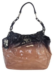 Prada Taupe Ombre Patent Leather Shoulder Bag
