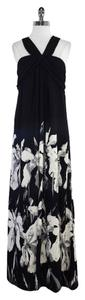 Maxi Dress by Halston Black White Floral Print Silk